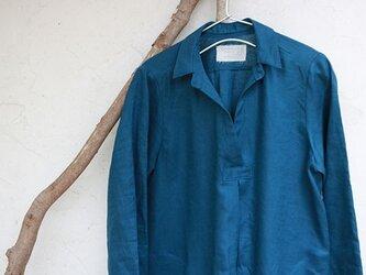 フロントタックワンピース:ブルーの画像