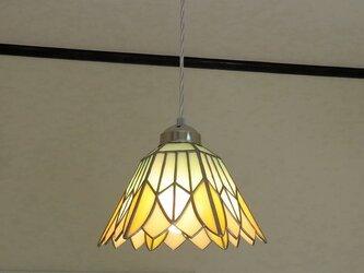 再販・パステルカラーのお花・オレンジ(ステンドグラスペンダントライト)天井のおしゃれガラス照明 Lサイズ・(コード長さ調節可)の画像