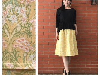 SALE!【ロングスカート屋さんなのに】ふんわり3段タックの膝丈スカート:60cm(ナルシスとデイジー:イエロー)の画像