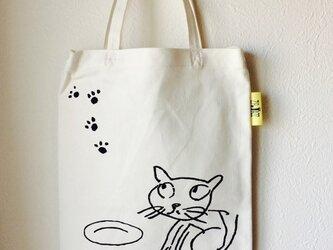 tote bag*cat ホワイトの画像