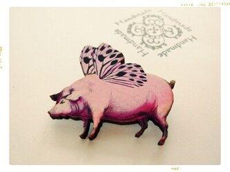 【Fairy Pig ピンクの仔豚】 ブローチの画像