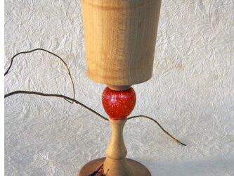 木製ワイングラス Vite赤の画像