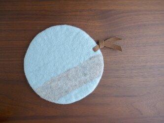 羊毛のポットマット〈ブルー×グレー〉の画像