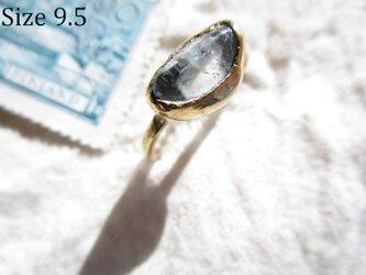 【再2】真鍮 アクアマリン原石リングの画像