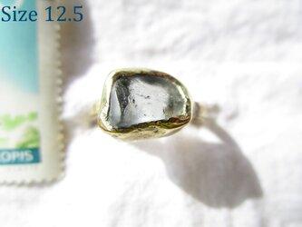 【再2】真鍮 アクアマリン 原石 リング 大の画像