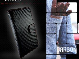 iPhoneケース スマホケース 手帳型 全機種対応 カーボン レッドステッチの画像