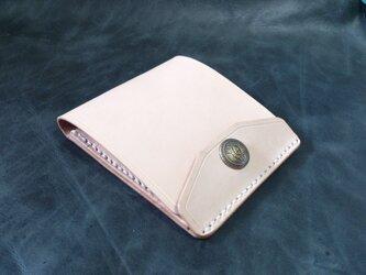 【右開口カード2枚 クラウン】薄型シンプル札ばさみ MC-08nc マネークリップ ヌメ革生成りの画像