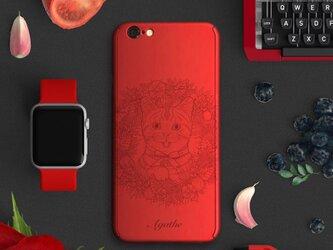 ★Cat★【全面保護強化ガラスフィルム付き】iPhone ケース iPhone全機種対応 スマホケース 赤の画像