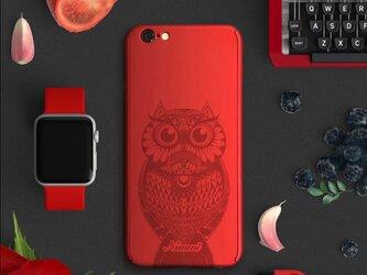 ★Owl★【全面保護強化ガラスフィルム付き】iPhone ケース iPhone全機種対応 スマホケース 赤の画像