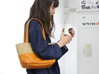 halb-mini-タン(タンニン染め帆布×杤木レザートートバッグ)の画像