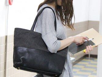 halb-クロ(タンニン染め帆布×杤木レザートートバッグ)の画像