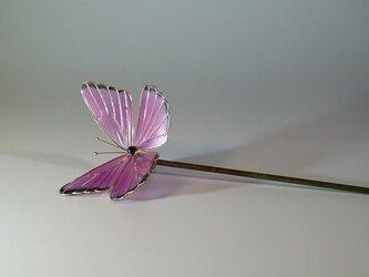 蝶の簪(ピンク) 一本ざしの画像