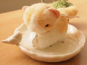 ちいさなぬいぐるみ ほんの少し首をかしげた猫*茶トラ×白の画像