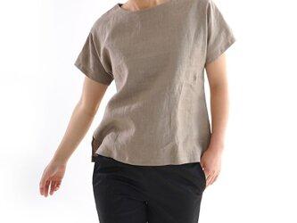 【wafu】薄地 雅亜麻 リネンブラウス ドロップショルダー チュニック Tシャツ トップス / 榛色 t001f-hbm1の画像