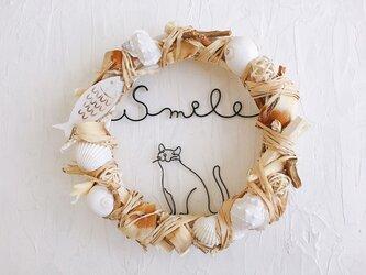 食いしん坊猫の魚リース Smileの画像