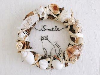 食いしん坊猫の魚リース Smile ブラウンの画像