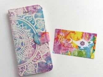 【春・夏】モロッコ風手描き曼荼羅模様 ピンクとブルーのiPhone/Androidケース(留め具pink)の画像
