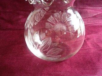 ひまわりの金魚鉢 〜手彫りガラス〜の画像
