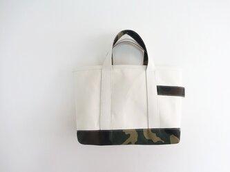 6号帆布×カモフラ トートバッグ<ホワイト系>の画像