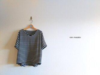 vネックのドルマンスリーブTシャツ*ネイビーボーダーの画像