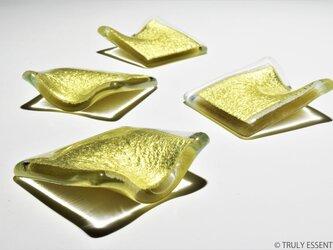 ガラスの箸置き - 「The Colors 」● 4個セット・金色の画像