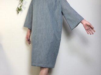 着物リメイク サマーウール ゆったりコクーンワンピース ブルーグレーの画像