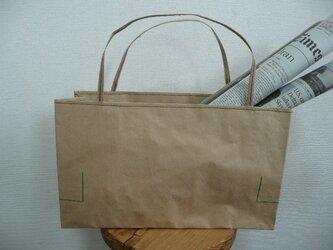 米袋バッグ★ちっちゃい『お袋さん』緑ステッチ★バゲットバッグの画像