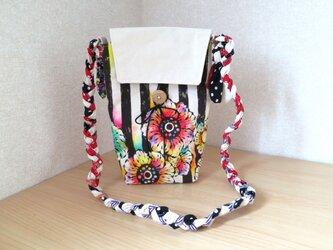 帆布 手描きの三つ編みショルダーバッグ(花柄×ストライプ)01の画像