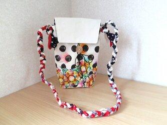 帆布 手描きの三つ編みショルダーバッグ(花柄×水玉)02の画像