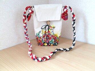 帆布 手描きの三つ編みショルダーバッグ(ねこ×花柄)03の画像