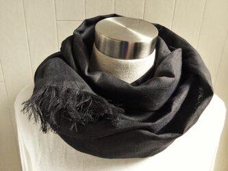 上質ベルギーリネンのストール 黒の画像