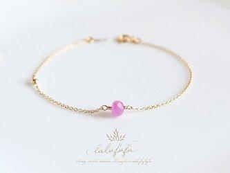 ◇uni◆douce◇紅藤~宝石質ピンクサファイアのブレスレットの画像