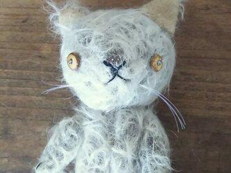 ハンドメイド*モヘア製の手乗り猫*子猫のぬいぐるみ*(検索)テディベアの画像