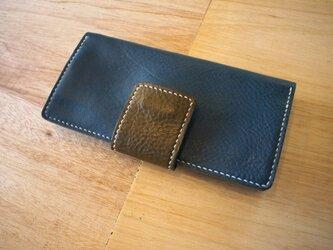 大きめベルトの長財布(ブルー)の画像