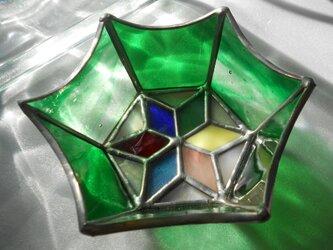ステンドグラス 小物入れ 緑の画像