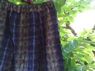 タータンチェック紬鬼絞り着物地(新反)タック入りギャザースカートの画像