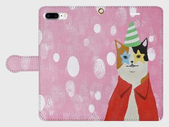 オリジナル手帳型スマホケース【星の目の猫】【受注製作:iPhone/Android】の画像
