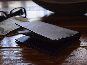 [受注生産品] 栃木レザー ハーフウォレット(BLACK) MNW-03の画像