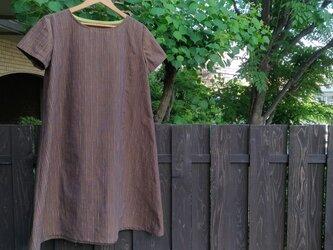 遠州綿紬(反物)茶色に七色のストライプ ふんわりAラインワンピースの画像