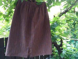 遠州綿紬(反物)茶色に七色のストライプ 素敵にデイリースカートの画像