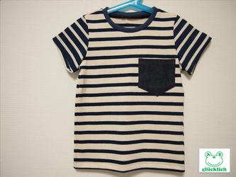 クルーネックボーダーTシャツ/110/紺×白の画像