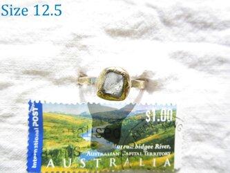 【再3】真鍮 アクアマリン原石 リングの画像