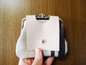 ドイツの麻袋から作った2つ口がま口財布 ネイビーの画像