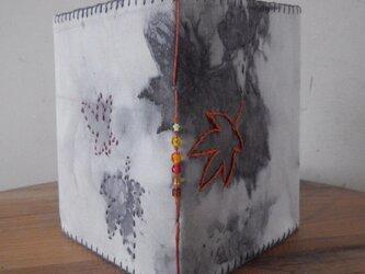 紅葉のEco printカバーのノートの画像