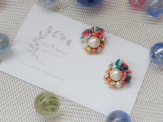 【送料無料】flower&cotton pearlピアス/イヤリング#107の画像