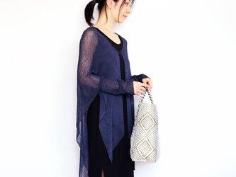◆即納◆Alwaid[アルワイド] オールカバー袖付きストール / ネイビー・ブルーの画像