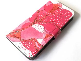 【ハイクオリティ手帳型】*TREE ( Sunset Pink ) ー  [ iPhone/Android対応 ]の画像