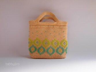 ビーズ編みのお散歩バッグの画像