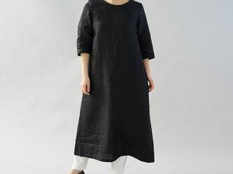 【wafu】中厚 リネン ワンピース ロング丈 ラウンドネック Aライン 7分袖 ドレス / ブラック a032d-bck2の画像