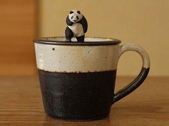 ※受注制作 昭和の銀幕スター気取りパンダ 蓋付マグカップの画像